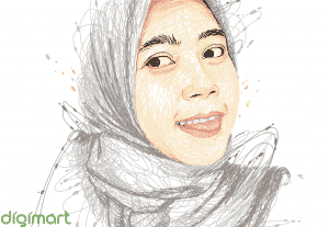 Scribble Potrait Full Colour Satu Wajah
