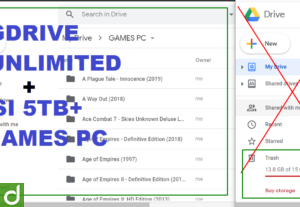 GoogleDrive Unlimited + sudah isi 5TB (Games PC)